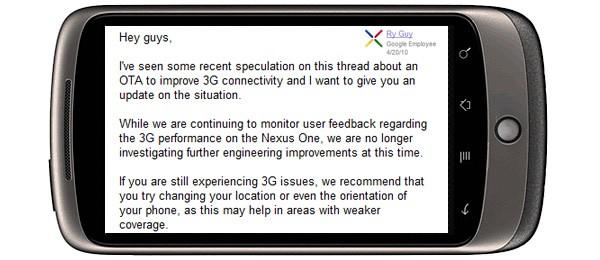 Google ne reste plus discret face aux problèmes 3G du Nexus One