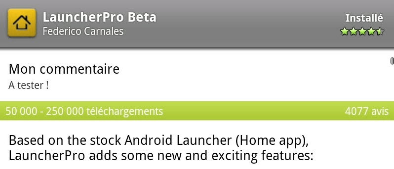 LauncherPro : La beta d'un Home bluffant !