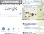 La page d'accueil de Google Mobile affiche des raccourcis vers des lieux : restaurants, cafés…