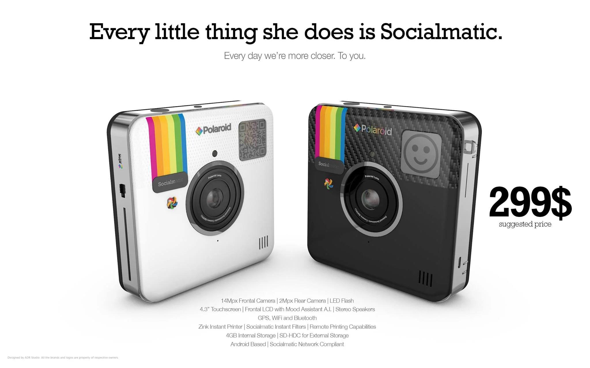 Socialmatic, la fotocaméra Android de Polaroid officialisée à 299 dollars