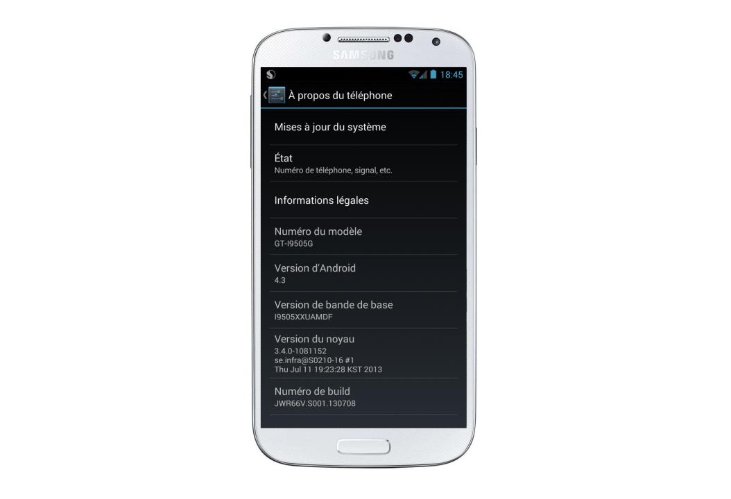 Galaxy S4 : une nouvelle fuite de Android 4.3 (Google Play Edition) portée sur le Galaxy S4