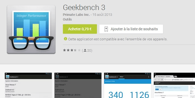 Geekbench 3, une nouvelle version de l'outil de Benchmark arrive sur Android