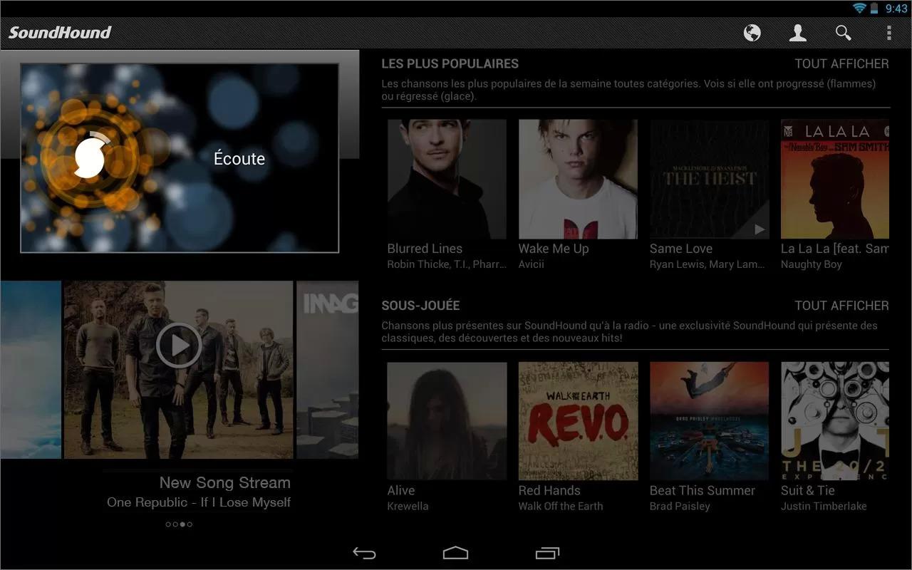 SoundHound : une amélioration de l'interface sur tablette
