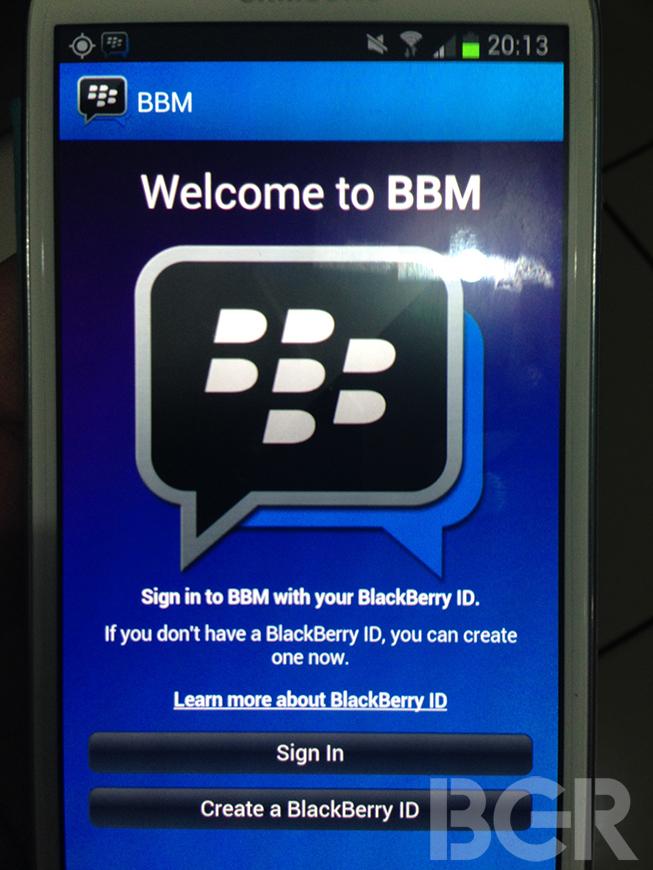 Une première image de BBM pour Android