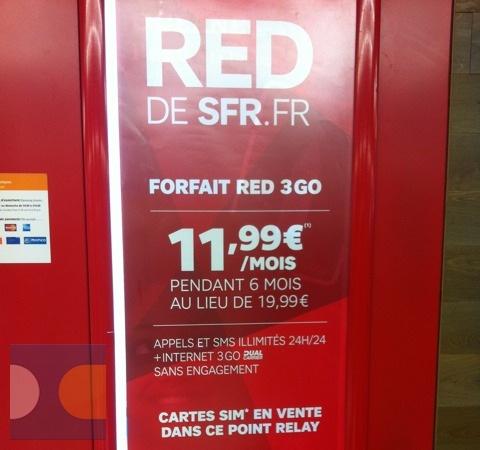 RED SFR : 11,99 euros au lieu de 19,99 euros pour le forfait 3 Go