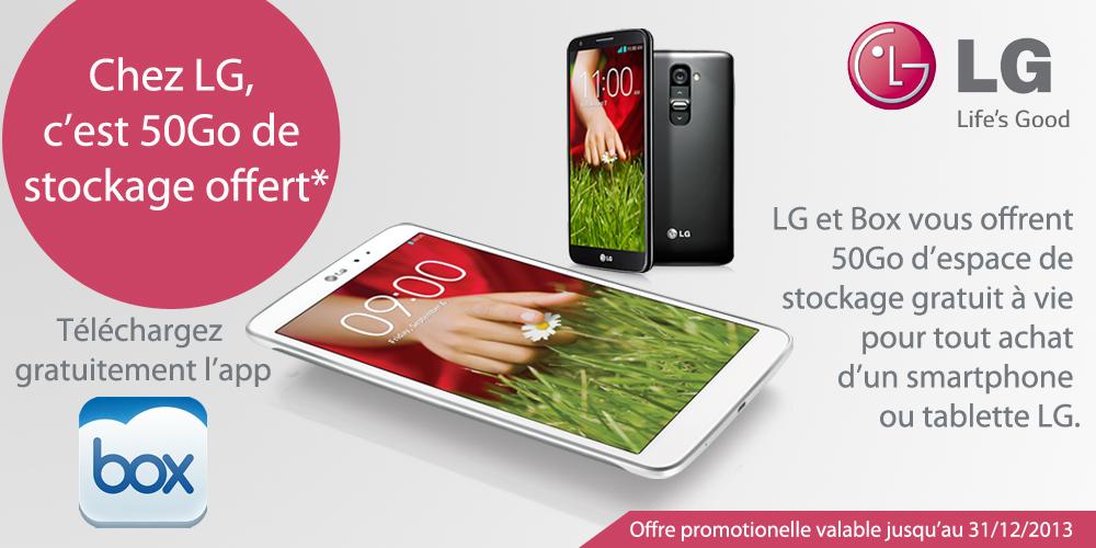 LG offre 50 Go de cloud Box «à vie» avec ses G2 et G Pad 8.3