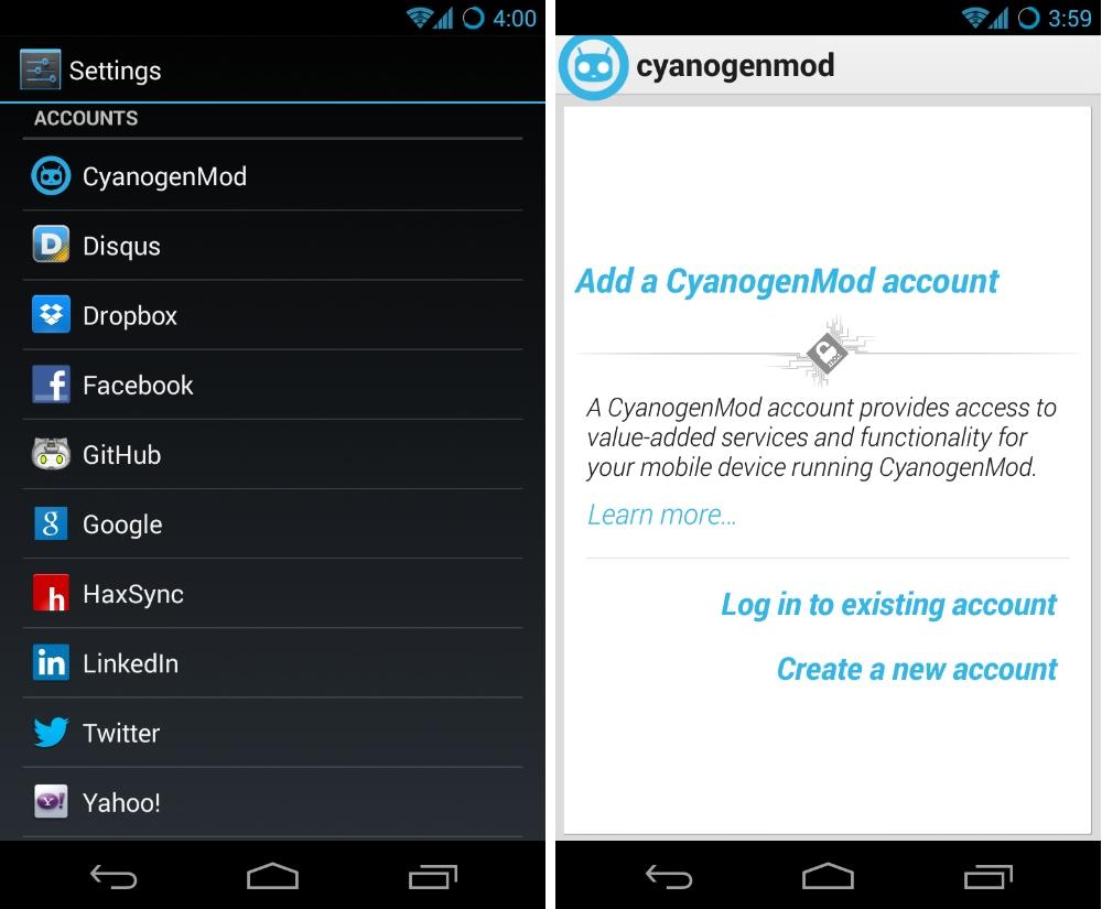Les comptes CyanogenMod arriveront dans la prochaine Nightly Build