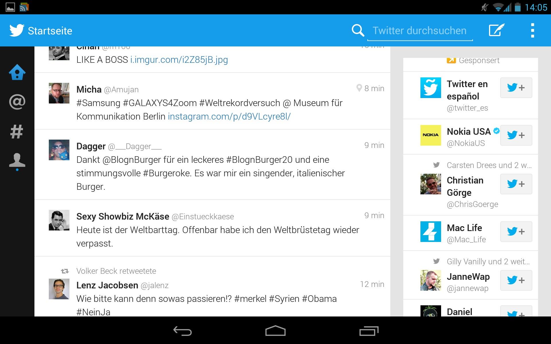 L'application Twitter de la Galaxy Note 10.1 (2014) est compatible avec d'autres tablettes