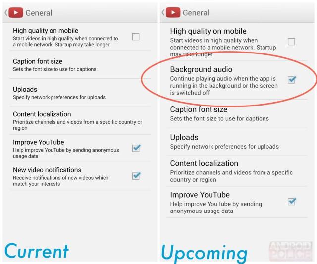 YouTube 5.2.27, la lecture audio en arrière-plan bientôt sur Android