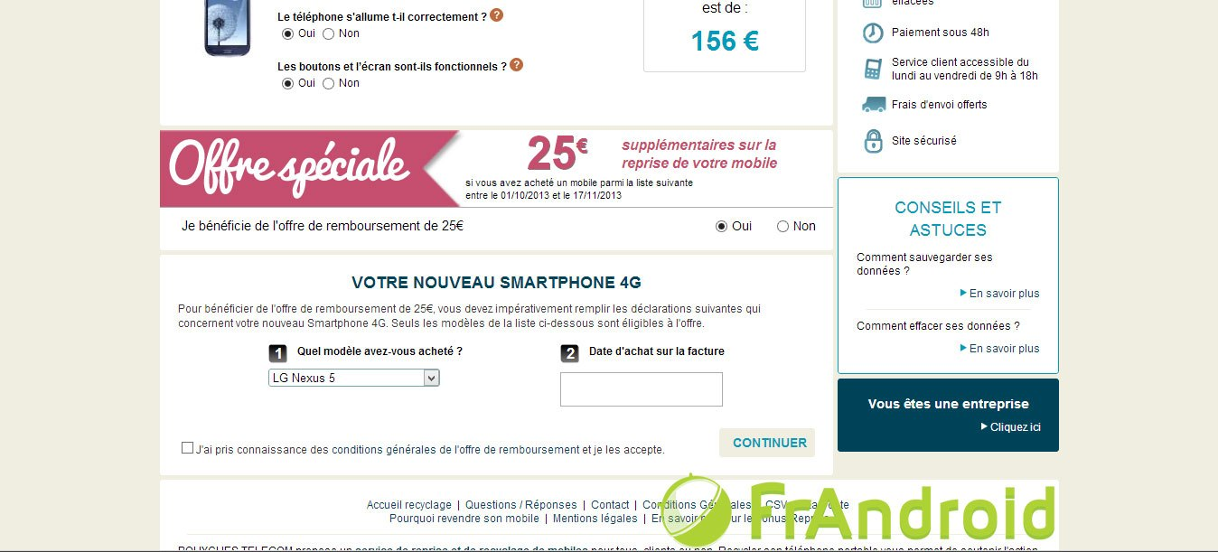 Le Google Nexus 5 déjà présent chez Bouygues Telecom