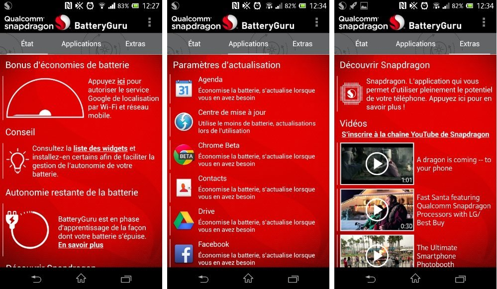 Snapdragon revoit l'interface de BatteryGuru 2.0.2, son application de gestion d'énergie