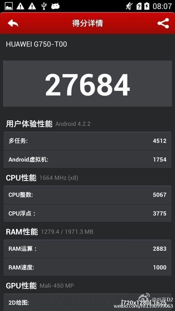 Le Huawei G750 octo-cœur est-il le Glory 4 sous MT6592 ?