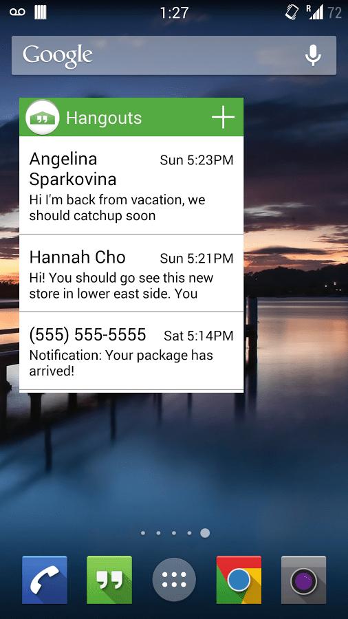 Hangouts s'offre un widget non-officiel pour les appareils sous Android 4.3