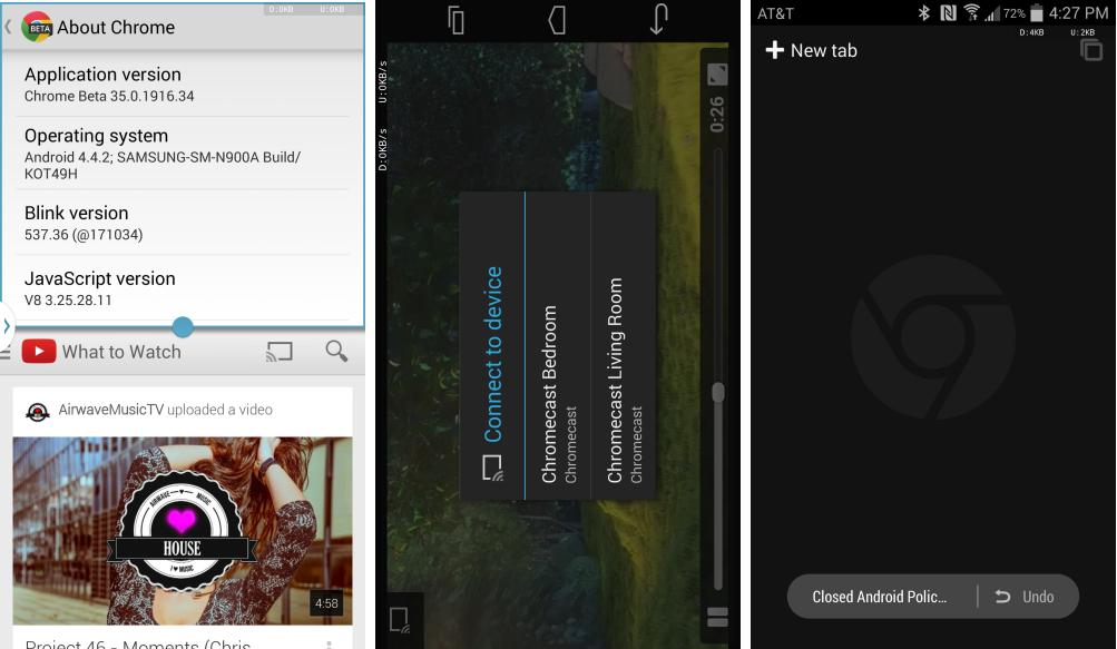Chrome 35 Beta sur Android  est compatible avec le multi-fenêtres des Samsung Galaxy