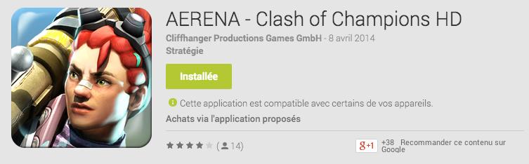 Le jeu Aerena : Clash of Champions est disponible sur le Google Play (pour les tablettes)