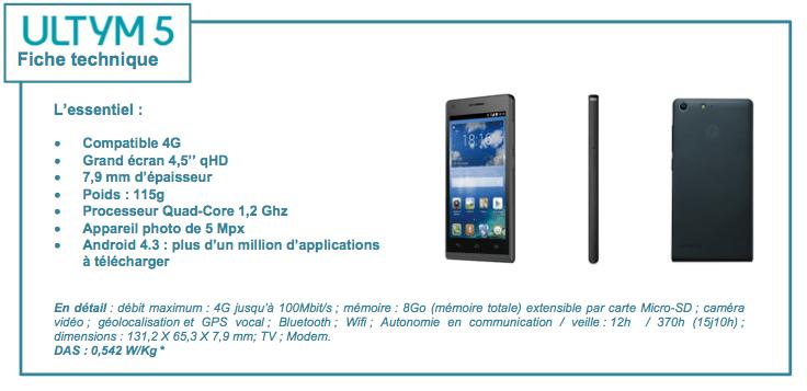 Ultym 5 de Bouygues Telecom : 4G et écran 4,5 pouces pour 119,90 euros