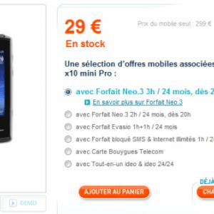 Le Sony-Ericsson X10 Mini Pro chez Bouygues Télécom