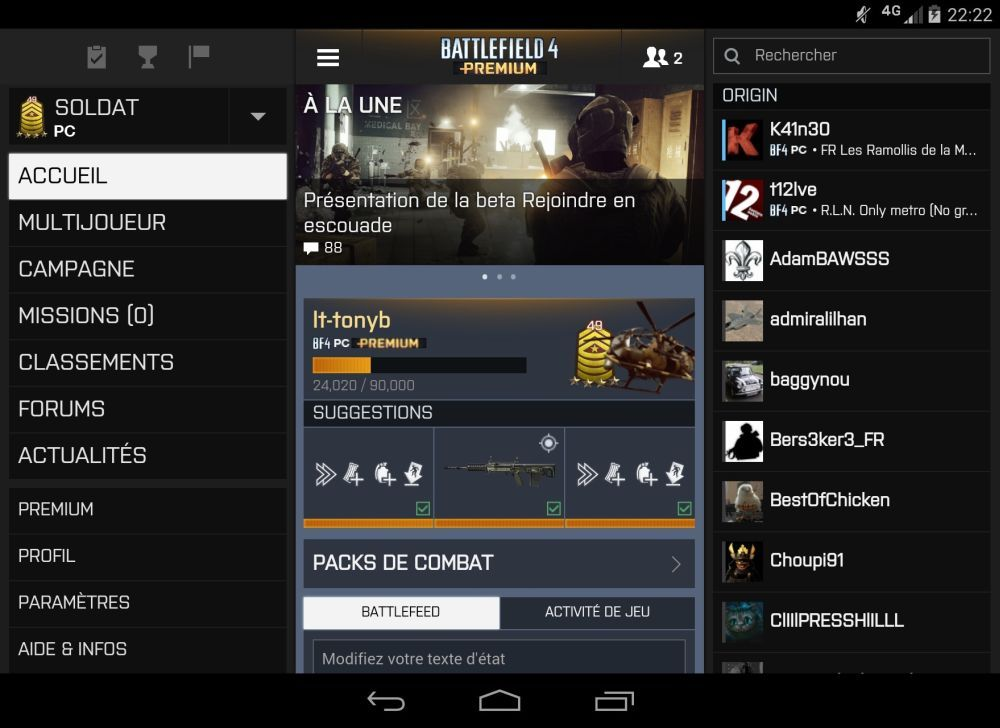 Retour sur Battlelog 2.2, une mine de possibilités de personnalisation sur Android