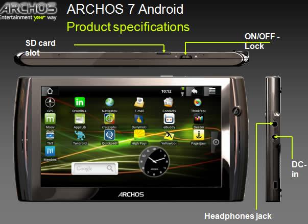 Archos : Plus d'informations sur la tablette Archos 7 sous Android