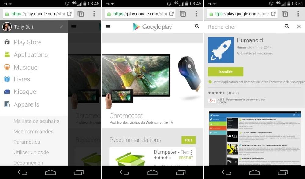 Le Google play décliné en version mobile Web !