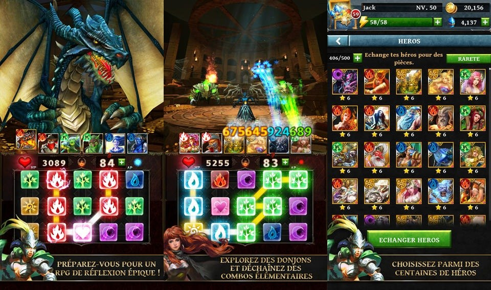 Dungeon Gems : un RPG médiéval fantastique aux faux airs de Candy Crush