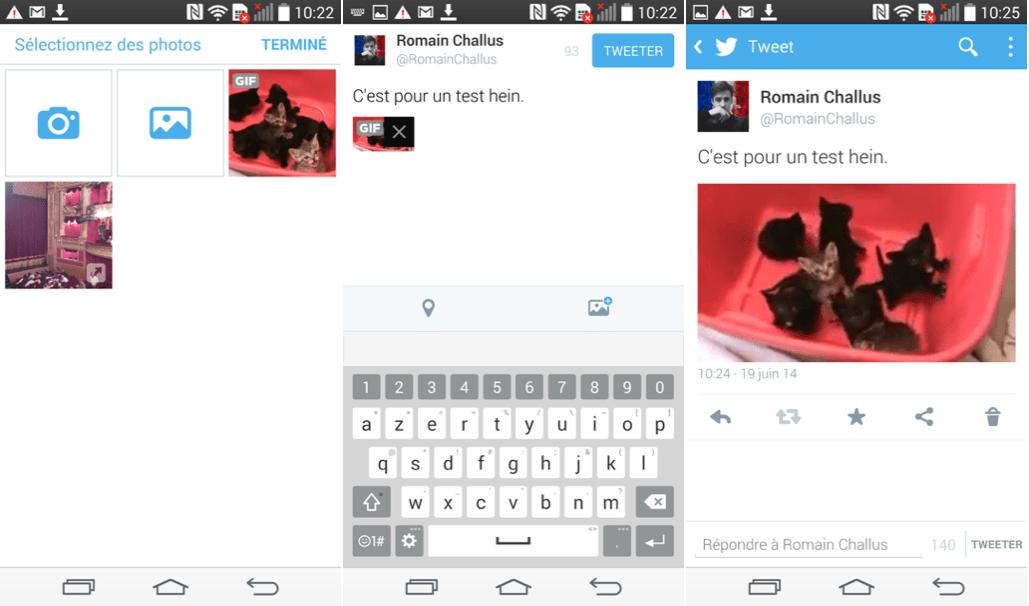 Twitter autorise maintenant le partage de GIF sur Android