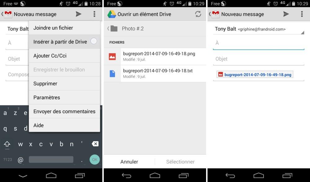 Gmail 4.9 simplifie le partage de fichiers Google Drive
