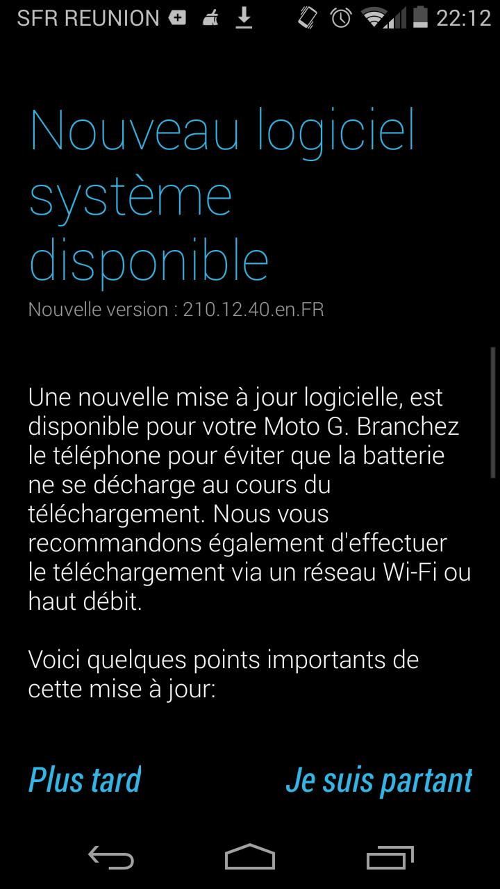 La mise à jour d'Android KitKat (4.4.4) est disponible pour le Moto G