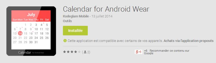 Calendar : et une première appli agenda pour Android Wear !