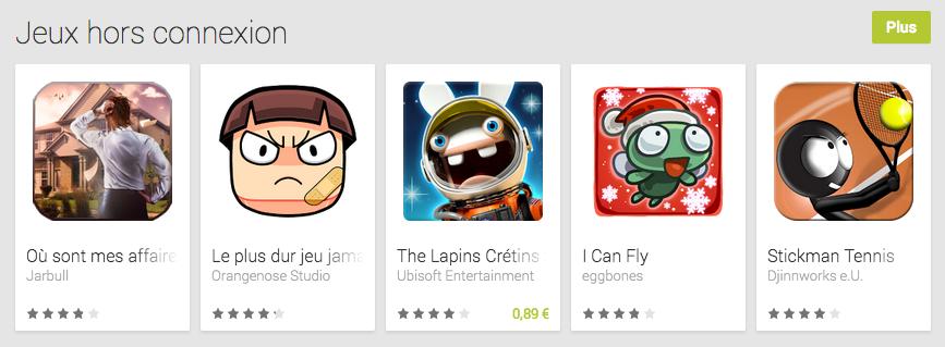 Bonne nouvelle, une catégorie «Jeux hors connexion» est disponible sur le Play Store