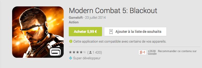 Modern Combat 5 débarque aujourd'hui sur le Google Play