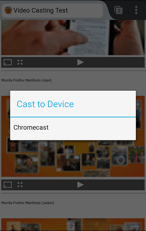 Firefox pour Android adopte le Chromecast