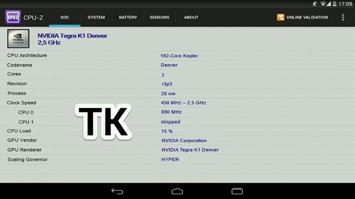 La présumée «Nexus 9» avec un processeur Nvidia Tegra K1 64 bits ?
