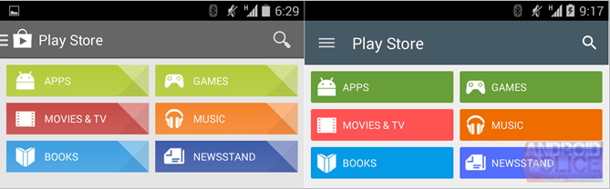 Un aperçu du Play Store 5.0 en version Material Design