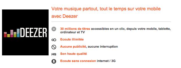 Deezer Premium + déserte les forfaits Origami d'Orange