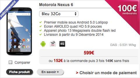 Le Nexus 6 est à 499 euros chez Free Mobile avec une offre de remboursement
