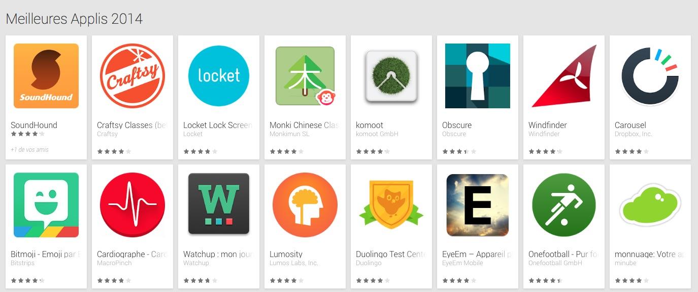 Google Play publie ses «meilleures applications 2014»