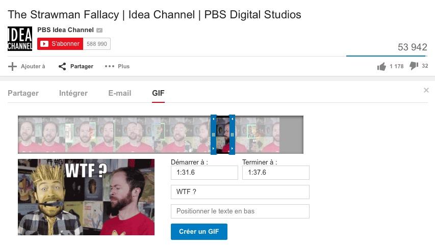 YouTube permet de créer des GIF à partir d'une vidéo
