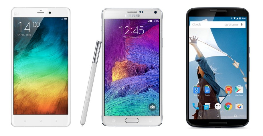 Comparatif : le Xiaomi Mi Note Pro face au Samsung Galaxy Note 4 et au Nexus 6