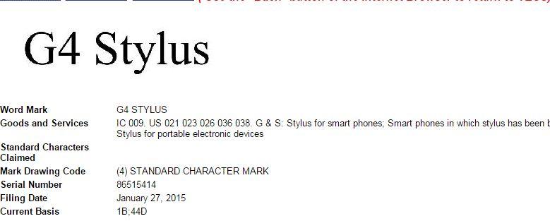 Le nom du G4 Stylus a été déposé par LG