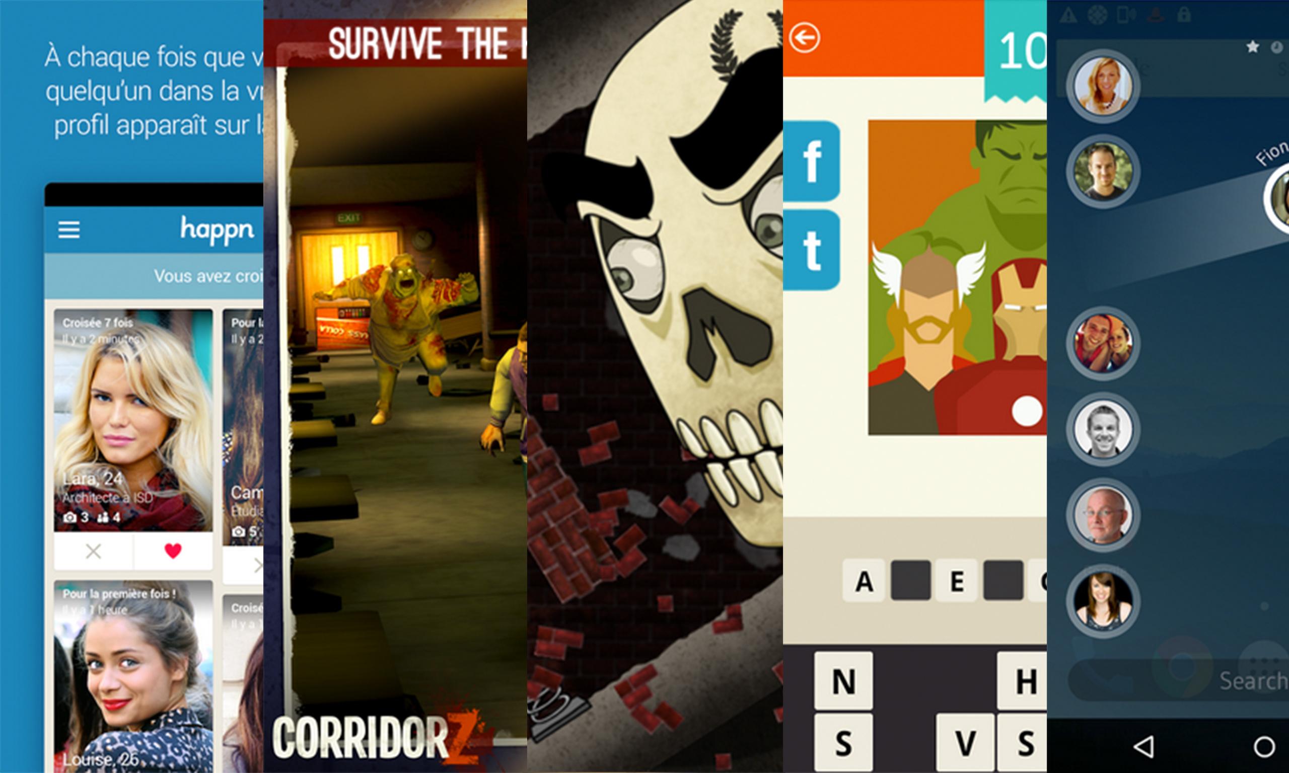 Les apps de la semaine : Happn, Corridor Z, Skullduggery!, Devinez le film ! ~ Logo Quiz, Drupe – Contacts. Your way.