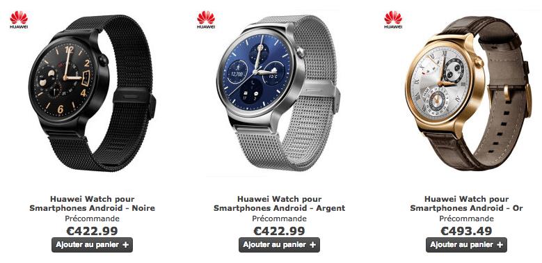 La Huawei Watch en précommande à partir de 422 euros