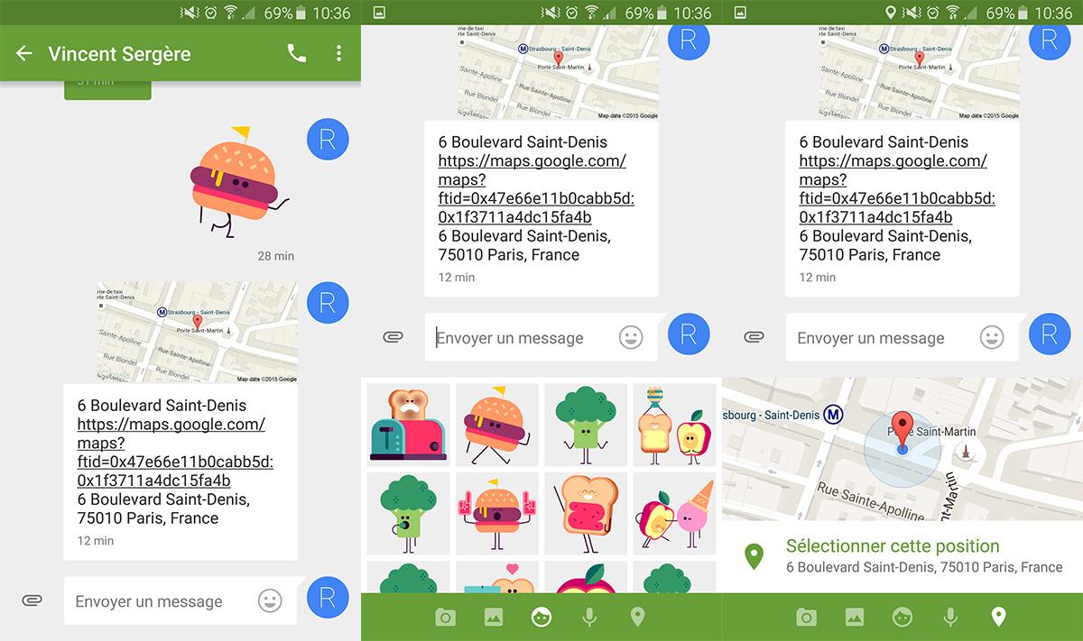 Google Messenger se met à jour avec la localisation et des stickers