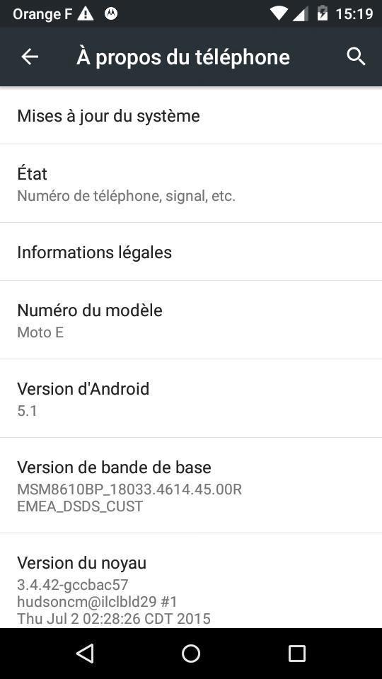Le Motorola Moto E (1ère gen) a bien droit à Android 5.1 Lollipop