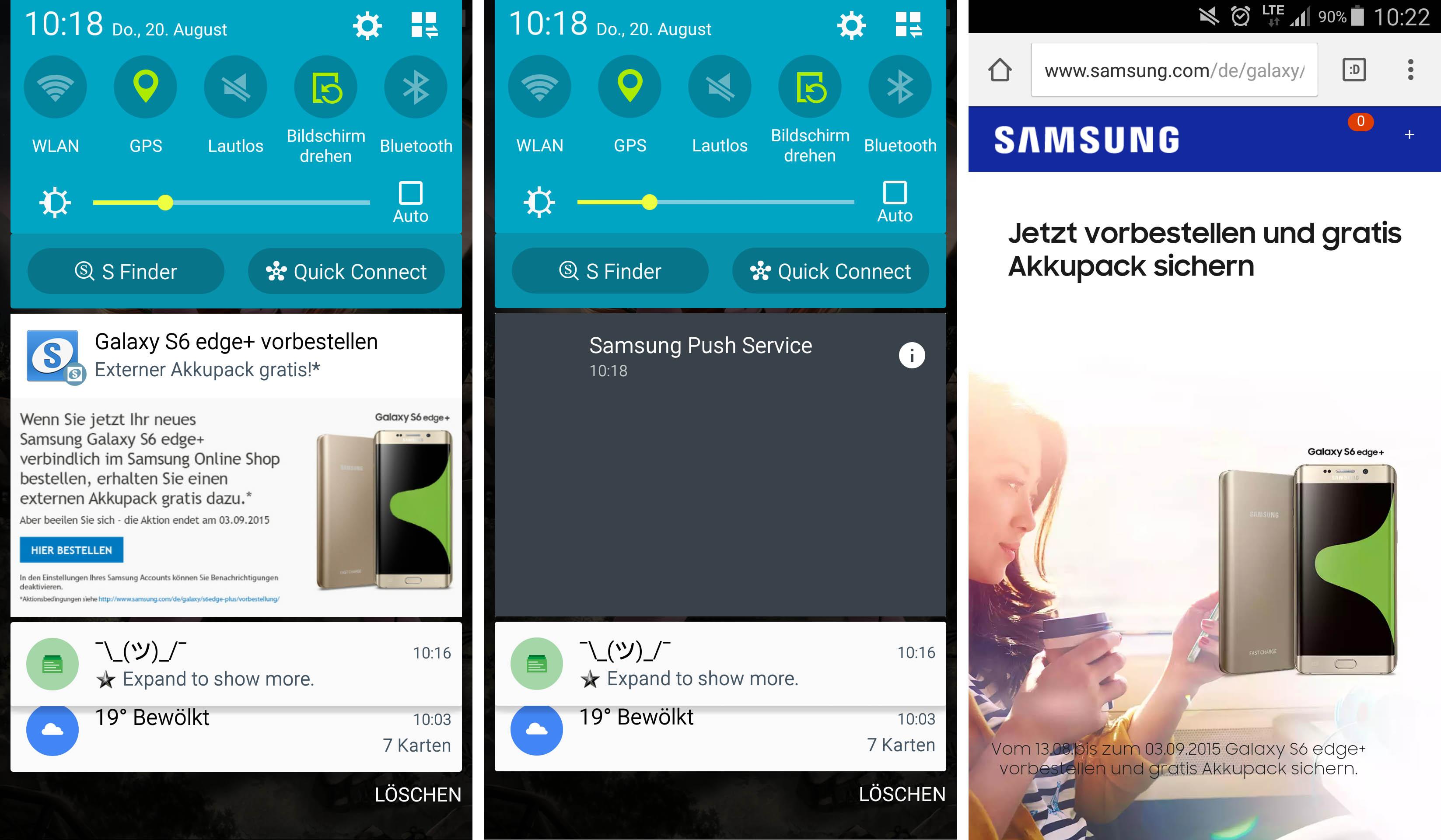 Samsung utilise les notifications pour promouvoir son Galaxy S6 Edge+