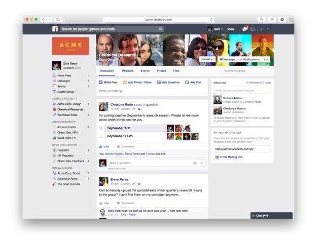 La version finale de Facebook at Work sera lancée en fin d'année