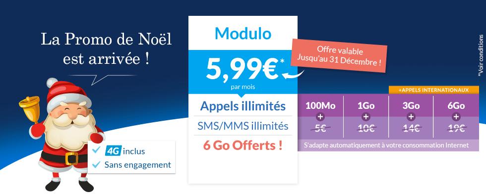 Prixtel lance sa promo de Noël : le forfait Modulo 6 Go à 5,99 euros par mois
