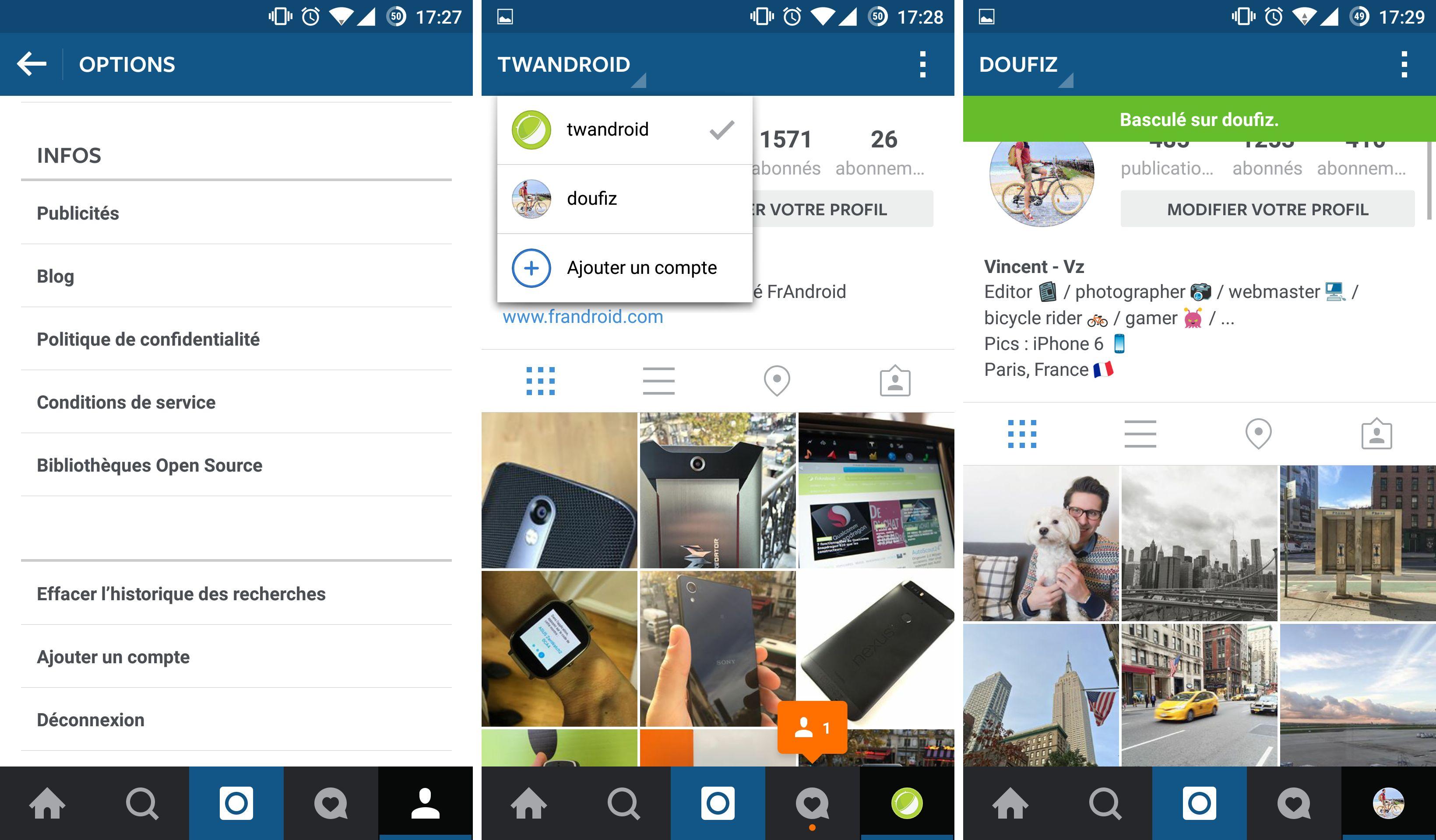 Instagram : le multicomptes est disponible à partir d'aujourd'hui