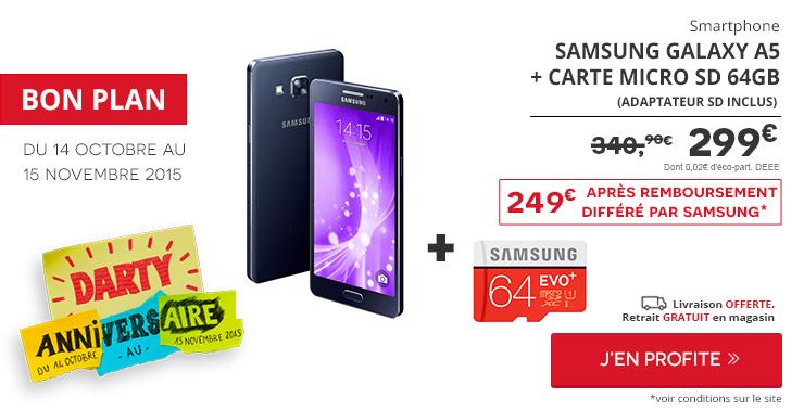Bon plan : le Samsung Galaxy A5 avec carte microSD 64 Go est à 249 euros