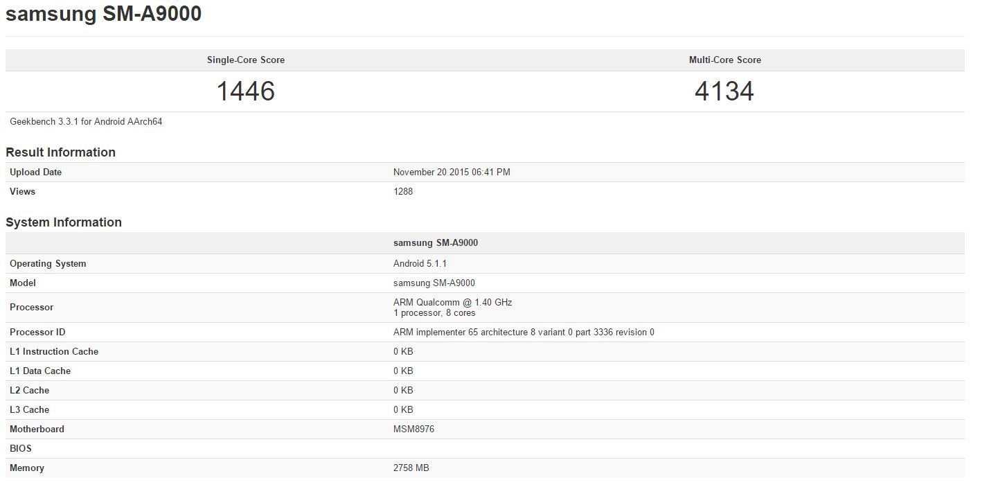 Samsung Galaxy A9 : un premier aperçu via GeekBench